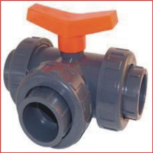 PVC 3 Way Ball Valve 40mm T Bore with 3 Crv-Steel Rail  to 10 bar Top Quality