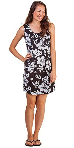 Peppermint Bay Cotton Sleeveless Short A-line Dress in Maui Shadow (Medium (6-8), Black/White Floral)
