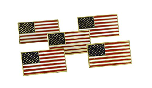 American Flag USA Patriotic Enamel Diestruck Lapel Pin Gold Tone Metal Value Pack 13 Stripes 50 Stars (5 pack)