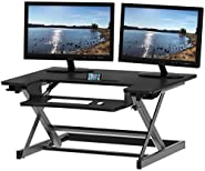 SHW Height Adjustable Sit to Stand Desk Riser Converter Workstation
