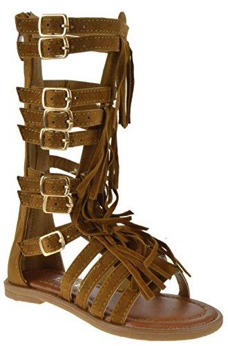 Katia 50K Little Girls Strappy Buckled Fringe Gladiator Flat Sandals Tan 11 (Girls Gladiator Sandals)