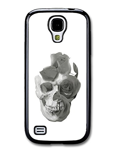 Skull with Double Exposed Roses in Black and White coque pour Samsung Galaxy S4 mini