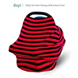 Baby Car Seat Cover Multi - Use Infant Covers Shopping Cart High Chair Stroller - Best Multi-Use For Baby Stretchy Fabric (Black/Red Stripe)