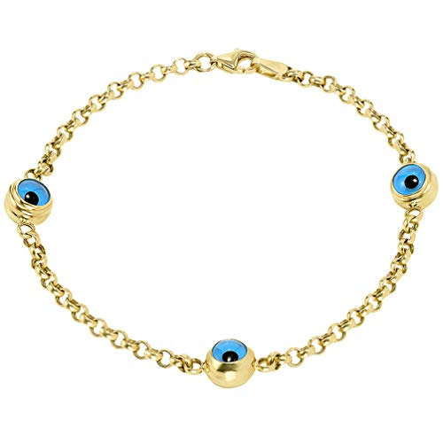 (14k Solid Yellow Gold Eye of Nazar Blue Evil Eye 2.5mm Rolo Chain Link Bracelet, 7