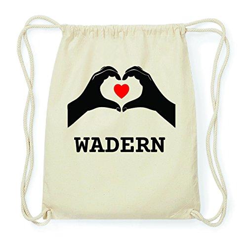 JOllify WADERN Hipster Turnbeutel Tasche Rucksack aus Baumwolle - Farbe: natur Design: Hände Herz a1tHhq