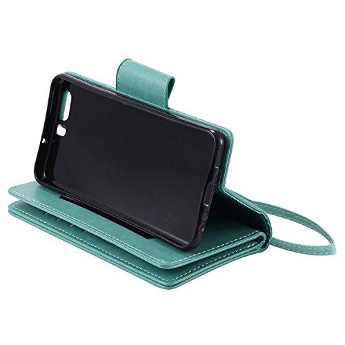 Funda Huawei P10, Vandot Premium PU Cuero Pintado Patron Funda para Huawei P10 TPU Interior Bumper Shell Billetera Caja de Teléfono con 9 Ranuras Tarjetas, Correa para la muñeca, Función de Soporte y  YHNV 01