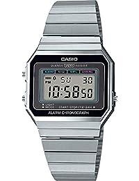 Casio A700W-1ACF Reloj Casio A700W-1ACF Plata Negro for Unisex Adulto, Plata, Unisex