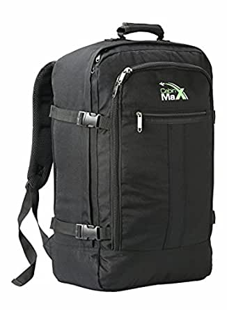 Cabin Max Metz Backpack Flight Approved Carry on Bag 44 Litre Travel Hand Luggage - 55x40x20 (Black)