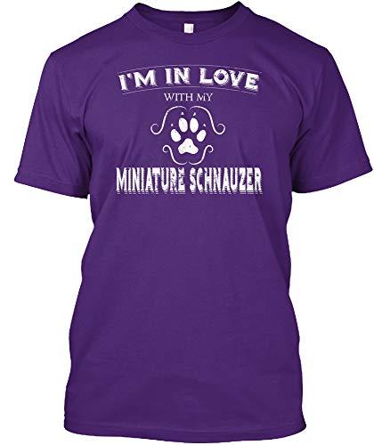 Valintines Day Shirt Love My Miniature S - Purple Tshirt - Hanes Tagless Tee ()