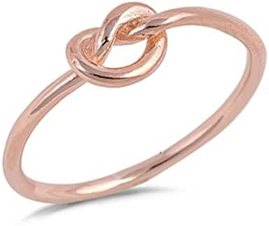 Infinity Knot Love Rose Gold Plated .925 Sterling Silver Ring Band Sizes 3-12