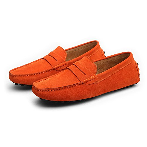 Genuino Slip Conducción los Loafers Cuero Hombres Color Casual EU On Size Mocasines Orange Penny Boat Suede Shoes de 39 vvxrqpw0