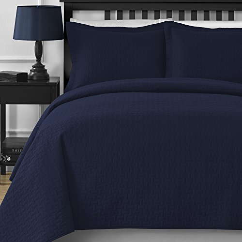 Extra Lightweight and Oversized Comfy Bedding Frame Embossing 3-piece Bedspread Coverlet Set (King/California King, Navy Blue)