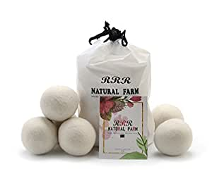 """Set of 6 Pack XL 2.8"""" Diameter- 100% Organic New Zealand Wool Dryer Balls by RRR Natural Farm ,Reusable Natural Fabric Softener Healthy Laundry Life"""