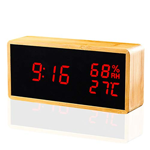 Alarm Clock, KABB Digital Clock, Natural Bamboo Material LED Desk Clock with Triple Alarms, Adjustable Brightness, Calendar Temperature Humidity Display and Voice Control Mirror Clock for Office Home