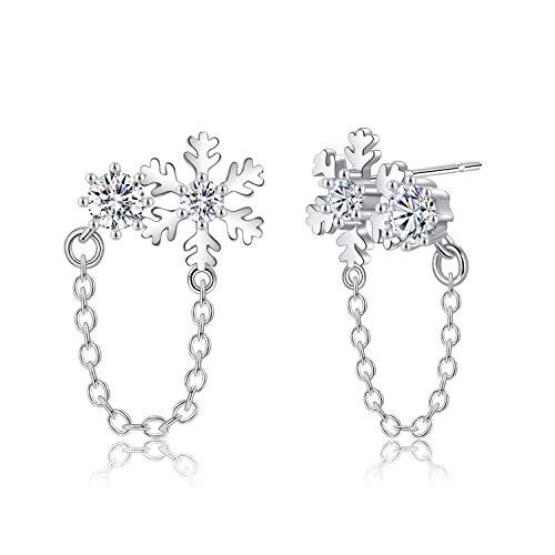 Jo.Gem 925 Sterling Silver Snowflake Earrings Winter Earrings Studs Fashion Jewelry Christmas Gift for Women & Girls (Earrings Snowflake Winter)