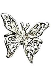Sterling Silver Left Only Pierceless 3D Open Butterfly Ear Cuff Wrap