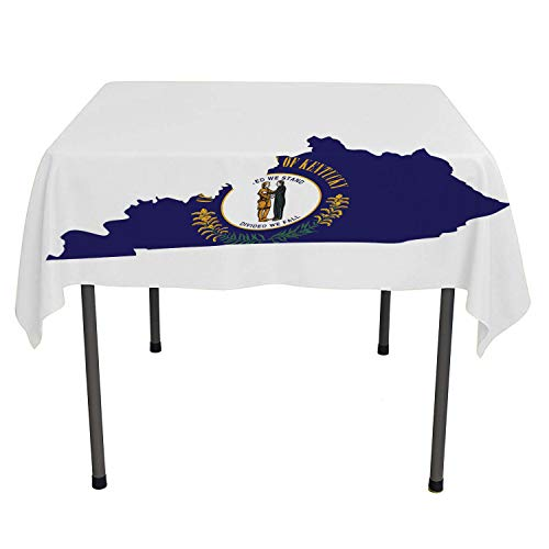 - Kentucky Outdoor Tablecloth Map Flag of Bluegrass State United We Stand Divided We Fall Motto Cobalt Blue Multicolor Printed Tablecloth Small Square Tablecloth 36 by 36 inch