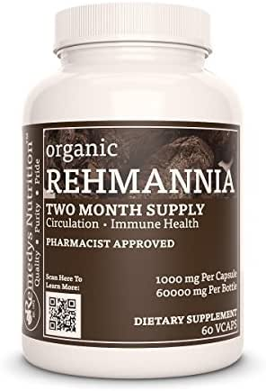 Rehmannia Root Remedy's Nutrition Mega Strength Vegan 1000mg / 60,000mg per bottle/ Natural Herbal Shu Di Huang (Rehmannia Glutinosa)Vcaps(Check Supplement Facts Box for a List of Organic Ingredients)