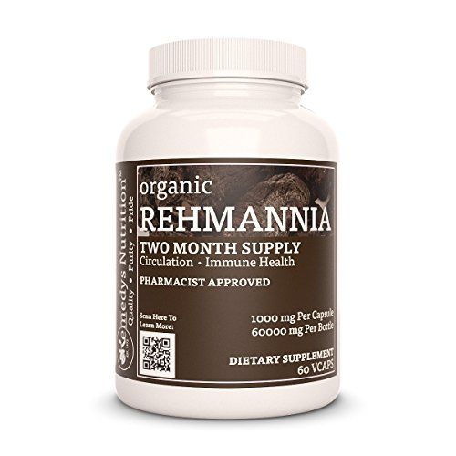 Rehmannia Root Remedy's Nutrition Mega Strength Organic Vegan 1000 mg / 60,000 mg per bottle/Natural Herbal Shu Di Huang (Rehmannia Glutinosa) Vcaps For Sale