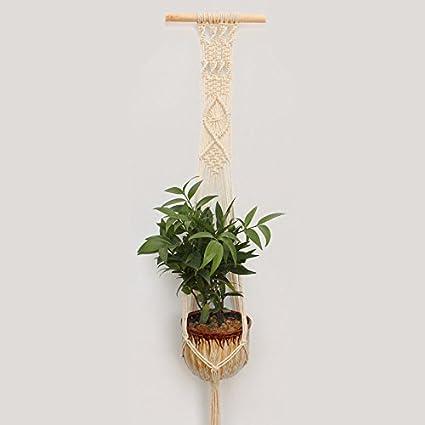 Macrame Plant Hanger Indoor Outdoor Hand Knit Hanging Planter Wood Stick Basket Wall Art 2PCS