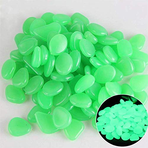 (HisweetH 200 Pcs Glow Decorative Stones Rocks, Glow in The Dark Garden Pebbles, Luminous Pebbles for Outdoor Decor, Garden Lawn Yard, Aquarium, Walkway, Fish Tank (200pcs Green))