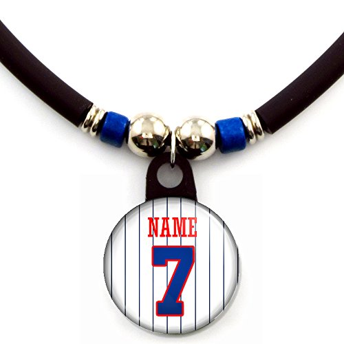esota Personalized Baseball Jersey Necklace with Your Name and Number ()