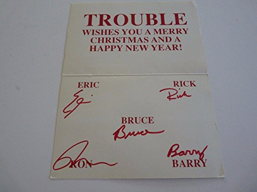 TROUBLE Rock Metal Band 1980s Signed Autographed Christmas Card Guaranteed - PSA/DNA Certified - Autographed NASCAR Cards ()