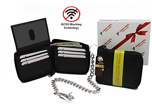 R.F.I.D Safe Identity Theft Protection Biker's Black Cowhide Leather Zip-Around Bi-fold Stainless Chain Wallet Lobster Claw Hook Shutout Slot Thumb Pull ID 13 Card Slots in Gift Box
