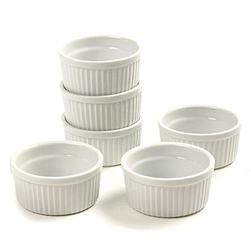 (Set of 6) 4.5 oz. Porcelain Ramekins, White, Bakeware, Souffle Dishes, Creme Brulee, Pudding, Custard Cups, Desserts, by K Basix by K Basix (Image #4)