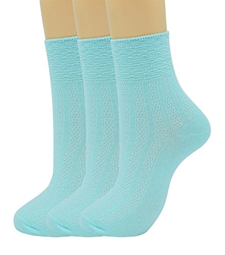 SRYL womens Super soft Combed cotton socks 3-Pairs,5-Pairs(Multicolor may choose)C311 (3 pairs -Light blue) from SRYL
