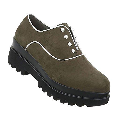 Damen Schuhe Halbschuhe Moderne Khaki