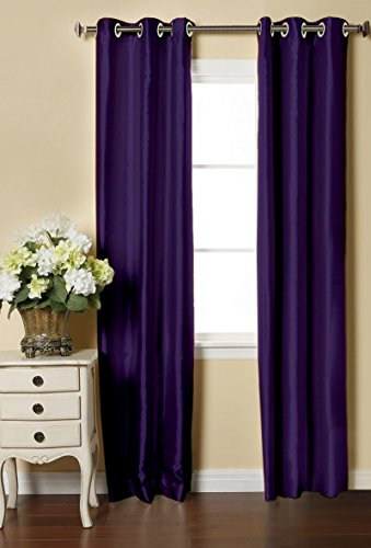 LUSHOMES Purple Dupion Silk Curtain with 6 Plastic Eyelets (Pack of 2 pcs) for Doors