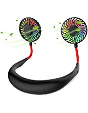 Hands-Free Portable Neck Fan - Rechargeable USB Mini Personal Fan Battery Operated with 3 Level Air Flow, 7 LED Lights for Home Office Travel Indoor Outdoor (Black)