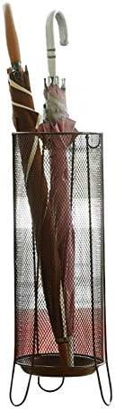 傘立て(9.8 'L * 9.8' W * 23.2 'H)ラウンド、家庭用およびオフィス用のドリップトレイおよびフック付きの傘ホルダー(色:ブロンズ)