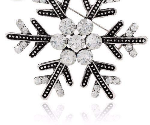 FlyerShop(TM) Vintage Brooch Pin Crystal Rhinestone Antique Gold Silver Big Snowflake (Antique Gold Snowflake)