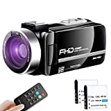 """Video Camera Camcorder Ultra HD Vlogging Camera 1080P 30FPS Remote Control IR Night Vision 3.0"""" Touch Screen with Separate Battery Charger, 2 Batteries"""
