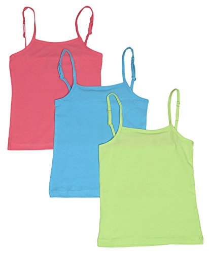 Real Love Girls 3 Pack Basic Cami Tank Tops, Size 6X, Lime, Soft Turquoise, Neon Coral'