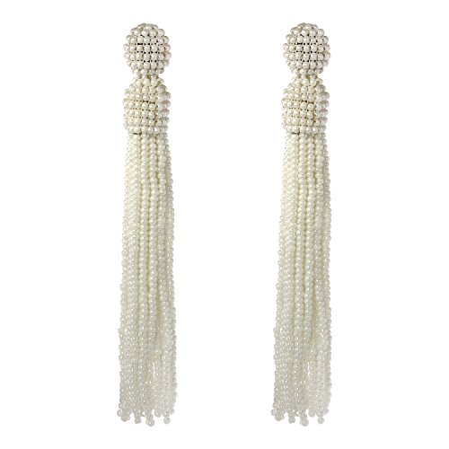 Bonnie Women's Tassel Long Earring Bead Solid Color Handmade Stud Tassel Earrings (Off-white) Green Colour Beads Earrings