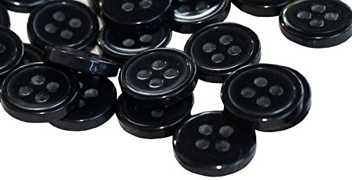 11 Mm Black Button - RaanPahMuang Plastic Shirt Buttons 11 millimeter diameter 4 hole 100pcs Bulk Lot, Black