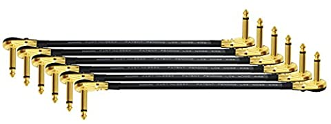6 Units - Mogami 2524 - 12 Inch - Guitar Bass Effects Instrument, S-Shaped Patch Cable with Premium Gold Plated ¼ inch (6.35mm) Low-Profile, Right Angled Pancake type - Shaped Unit