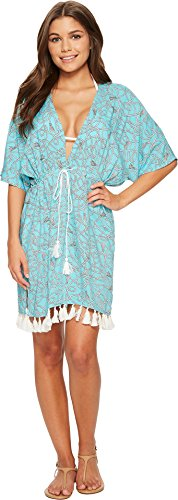 Michael Nautical Print (MICHAEL Michael Kors Women's Twisted Rope Caftan Cover-Up w/Tassels Turquoise Small)