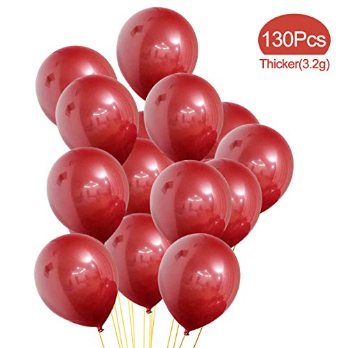 Pearl Burgundy Balloons, 130 Pack, 12 Inches Party Red Latex Balloons Great for Kids Adult Birthday Wedding Reception Baby Shower Decorations ()