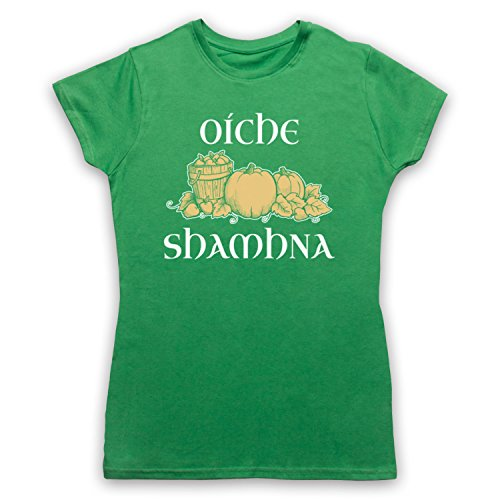 Oíche Shamhna Samhain Night Camiseta para Mujer Verde