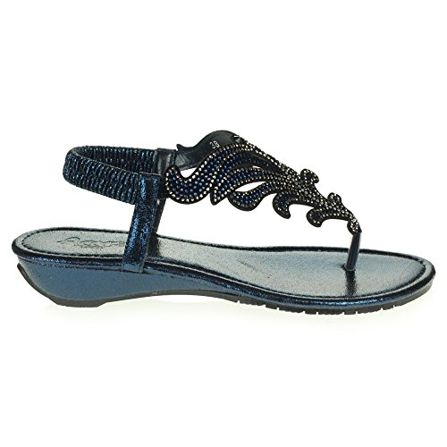 AARZ LONDON Women Ladies Crystal Diamante Casual Comfort Slingback Low Wedge Heel Lightweight Sandals Shoes Size Navy blue OxWNcnMmd