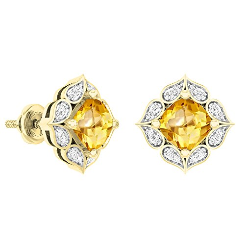 Dazzlingrock Collection 18K 6 MM Each Cushion Citrine & Round White Diamond Ladies Stud Earrings, Yellow ()