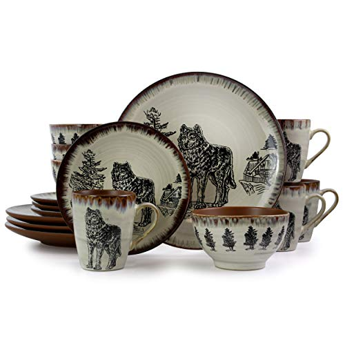 Elama Round Stoneware Cabin Dinnerware Dish Set, 16 Piece, Wolf Design with Warm Taupe and Brown Accents