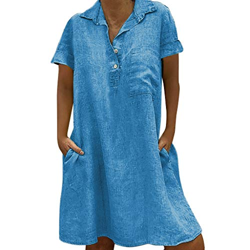 HAPPIShare Womens Summer Loose Fit Plain Linen Blouse V Neck Button Down Short Sleeve Shirt Tunic Dress with Pockets Blue