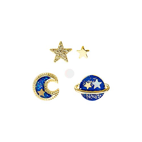 YAMULA 5 Pcs Stud Set Amazing Planet, Star&Moon Stud Earrings for Girls from YAMULA