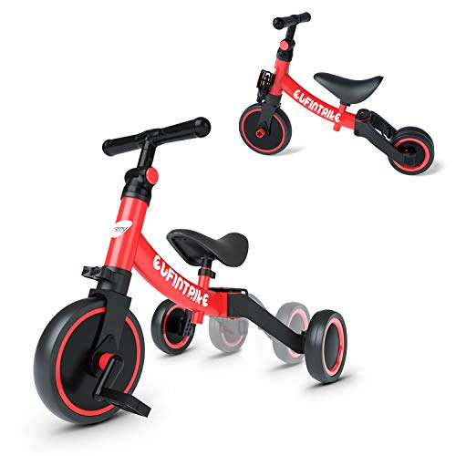 besrey 5 in 1 Toddler Bike for 1-3 Years Old Kids, Toddler Tricycle Kids Trikes Tricycle Ideal for Boys Girls, Red