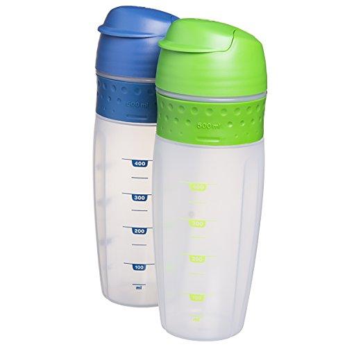 Protein Shaker Lid: 2pk 500ml Quick Blender Shaker Bottles Snap Lid Cups For